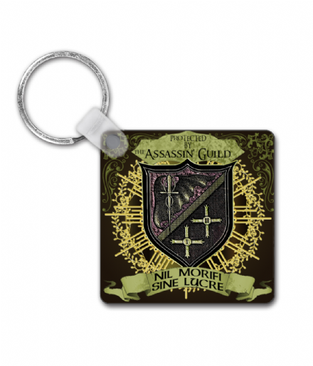 Protected by the Assassins Guild Square Keyring Inspired By Terry Pratchett's Discworld